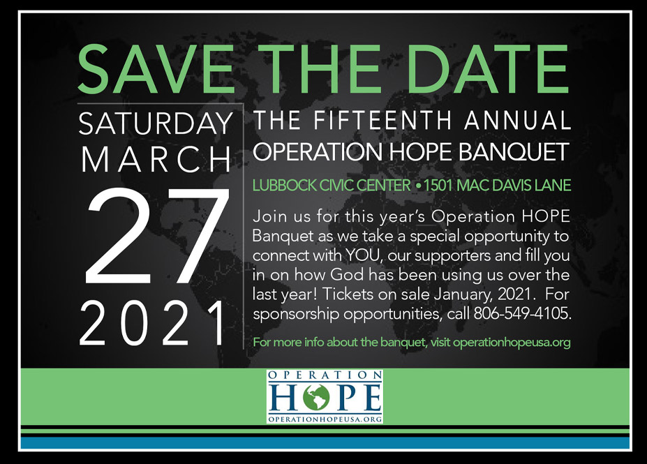 Operation HOPE USA Annual Banquet 2020 Invitation