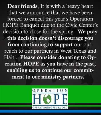 Operation HOPE USA Annual Banquet 2021 canceled.